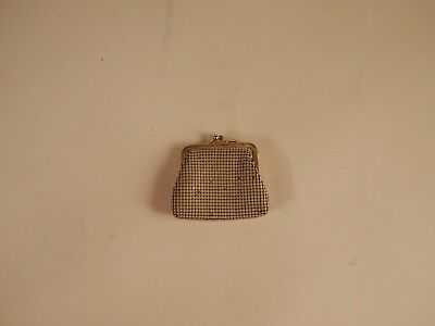 Enamel Mesh Cream and Gold tone coin purse Whiting Davis Made in China