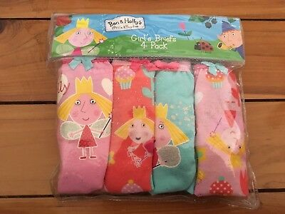 Ben & Holly's Little Kingdom Girl's Briefs 4 Pack. Size 3/4. Brand New!