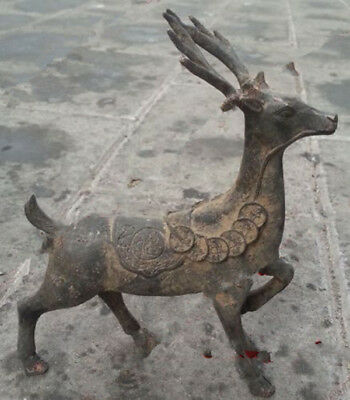 Collectables China Archaic Bronze animal statue Lucky coin Deer beastie carvings
