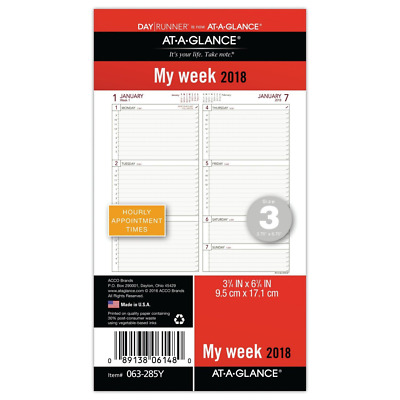 AT-A-GLANCE Day Runner Weekly Planner Refill, January 2018 - December 2018, 3-3/