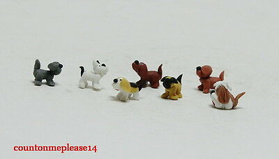 6 Mini Dogs Miniature multi color white clay Handcrafts collectible 1:12 approx.