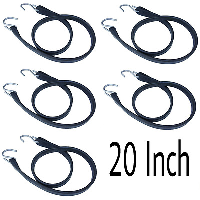 "(5) 20"" Heavy Duty Rubber Tarp Straps Tie Down / Bungee Cord With S Hooks"