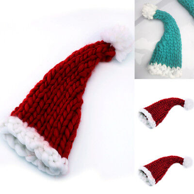 Christmas Adult Kids Warm Soft Santa Clause Hat Hand Woven Wool Christmas Caps