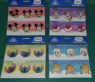 Disney Pins Booster packs EMOJI Minnie Cheshire Cat White Rabbit Stitch Frozen