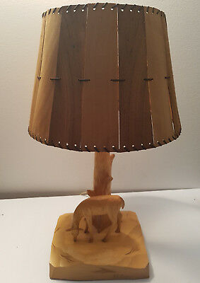 RARE Hand Carved Deer Lamp With Original Wood Shade Signed  Paul Emile Caron