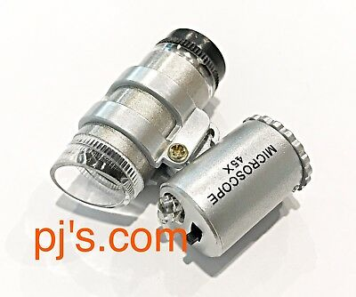 45 x Mini Pocket Microscope Magnifying Glass With 2 LED Lights