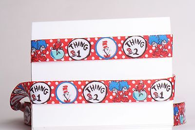 """3/"""" AND 1.5/"""" GROSGRAIN PURPLE DR SEUSS COLLAGE PRINTED RIBBON 1 3,5 YDS"""