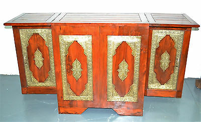 NEW Antique Timber Indian Folding Bar Wine Cabinet Drinks Counter Vintage Brass
