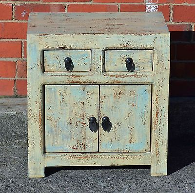 Pale Blue Oriental Antique Chinese Bedside Cabinet Asian Lacquer Side Table