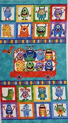 Quilt Fabric Glow Inthe Dark Monsters Northcott 100% Cotton Fabric Panel