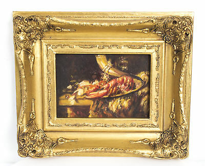Oil Painting of an  Impressionist  Still Life with a Lobster Giltwood Frame