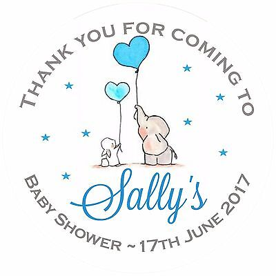 Round personalised Baby Shower elephant balloon party shower labels stickers