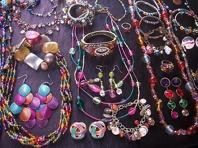 Lot Of Vintage/now Costume Jewelry Gorgeous Colors 40 Pieces Nice
