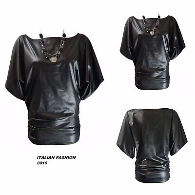 New Womens Batwing Top Ladies Pu Pvc Wet Look Stretch Short Sleeve Necklace Top