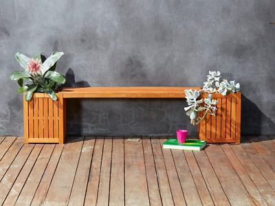 Oasis Bench Seat with Planter Boxes Outdoor Deck Garden Balcony Furniture Wood