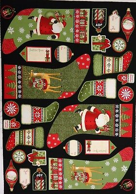 Quilt Fabric Santa's Gifts South Sea Imports 100% Cotton Fabric Panel