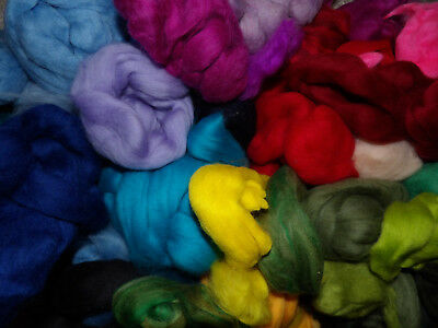 Merino Wool Tops Mixed Colours Roving Felting Spinning 100g pack