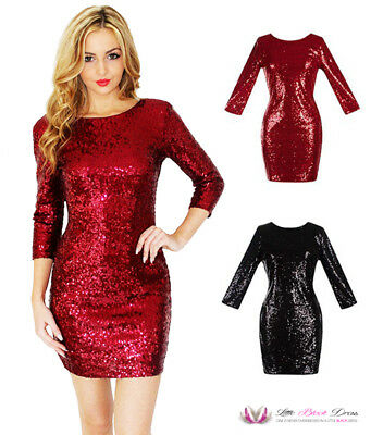 SALE Womens Sexy O Neck Long Sleeve Sequin Sparkly Backless LBD Party Dress