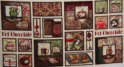 QUILT FABRIC HOT CHOCOLATE by WILMINGTON PRINTS 100% COTTON FABRIC PANEL
