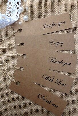 Thank you, Drink me, With love, Kraft Gift Tags Vintage Wedding Labels & Twine