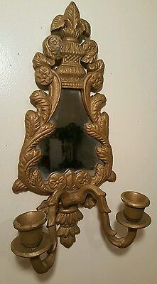 Antique Metal Cast Iron Wall Sconce With Mirror Candle Holders