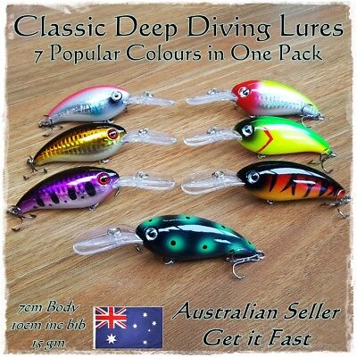 Yellowbelly Cod Redfin Perch Bass Freshwater Deep Diving Fishing Lures x 7 Lures