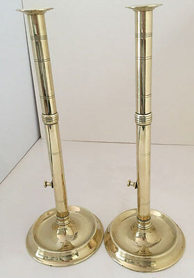 Pair English George III Brass Candlesticks