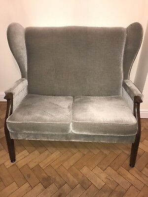 Vintage Retro Mid-Century 2-seater Sofa with 2 Chairs Blue/Grey with RUG!