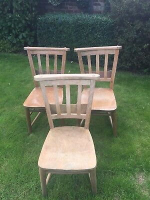 Antique Church Chairs With Hymn Book Shelf - 3 Available