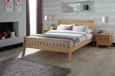 Freyr Solid Oak Wood Bed Frame Curved Style in Oak - Double / King / Super King