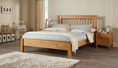 Frigg Solid Oak Wood Bed Frame Chunky Design in Oak - Double / King / Super King