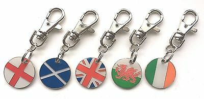 Personalised United Jack or any one of 4 Nations Bone Dog ID Pet Tag & Clip