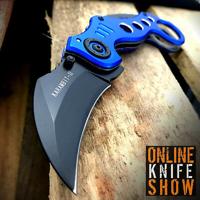 TACTICAL BLUE SPRING KARAMBIT ASSISTED POCKET KNIFE Open Folding Claw Blade NEW!