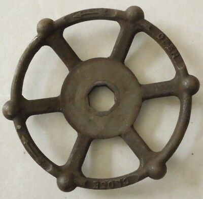 """One Large Vintage Steampunk Cast Iron Water Valve Handle 6"""" Inch"""