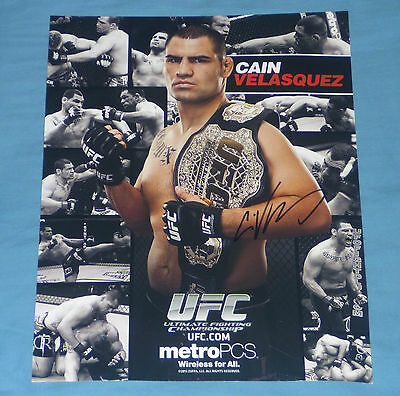 CAIN VELASQUEZ UFC HEAVYWEIGHT CHAMPION SIGNED A4 THICK CARD mma fight raw wwe