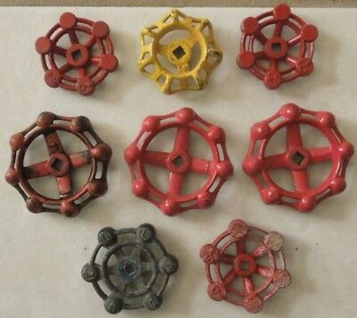 8 Various Sized Metal Industrial Oil Refinery Water Valve Handles