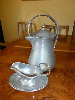 Art Nouveau style pure solid nickel jug and gravy boat