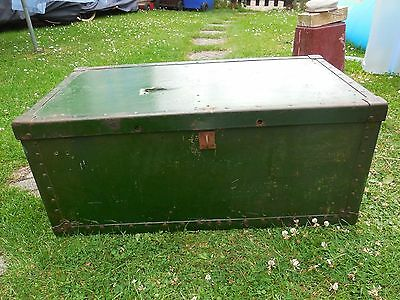 Vintage Green Metal And Wooden Box Chest