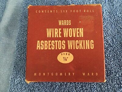 Vintage Montgomery Wards Asbestos Wire Woven Wicking NIB Antique FREE SHIPPING!