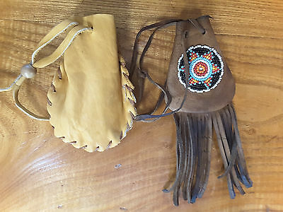 2  Handmade Leather Drawstring Pouches ~ One With Beaded Medallion & Frindge~