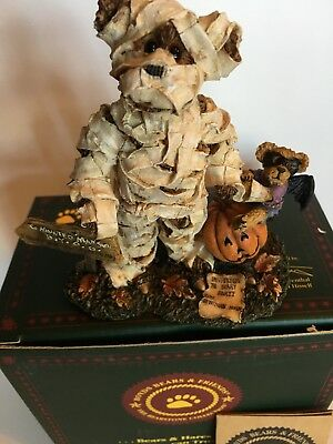 "BOYDS BEARSTONE  ""BORIS BEARLOFF WITH DRAC""  THIS IS A WRAP MUMMY Halloween NIB"