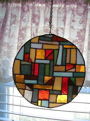 Vintage Hadmade Leaded Glass Window Decor