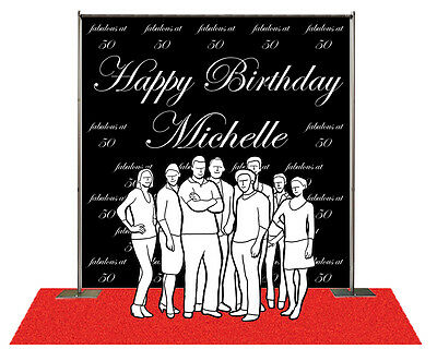 Step and Repeat Red Carpet Backdrop Banner 8'W x 8'H