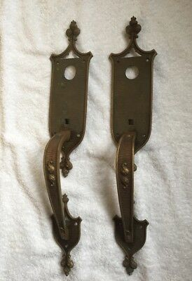 23 INCHES TALL!! Large Regal Antique Pair VINTAGE Solid BRASS DOOR HANDLES PULLS