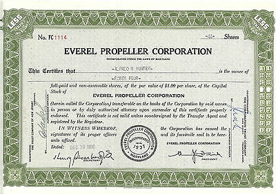 MARYLAND 1950, Everel Propeller Corporation Stock Certificate