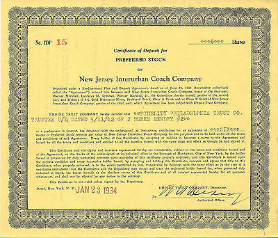 NEW JERSEY 1934, New Jersey Interurban Coach Co Stock Certificate