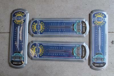 Lot Of 4 Super Chevrolet Service 1911 Tin Sign Thermometer Man Cave Shop Auto