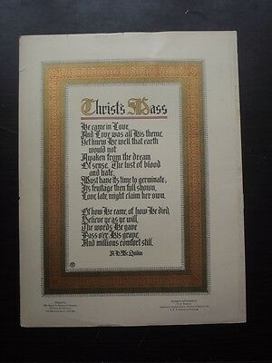 1910's ART'S AND CRAFTS PRINT OF CHRIST'S MASS, PRINTED by HENRY O. SHEPARD CO.