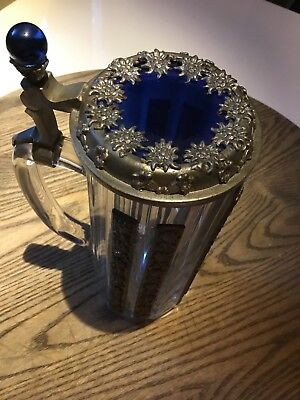 Glass Beer  Mug w/ sapphire blue with cut flowers Inset Lid