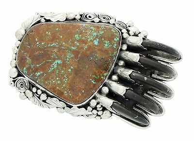 Henry Sam, Buckle, Bear Claw, Pilot Mountain Turquoise, Navajo Handmade, 1.5 in